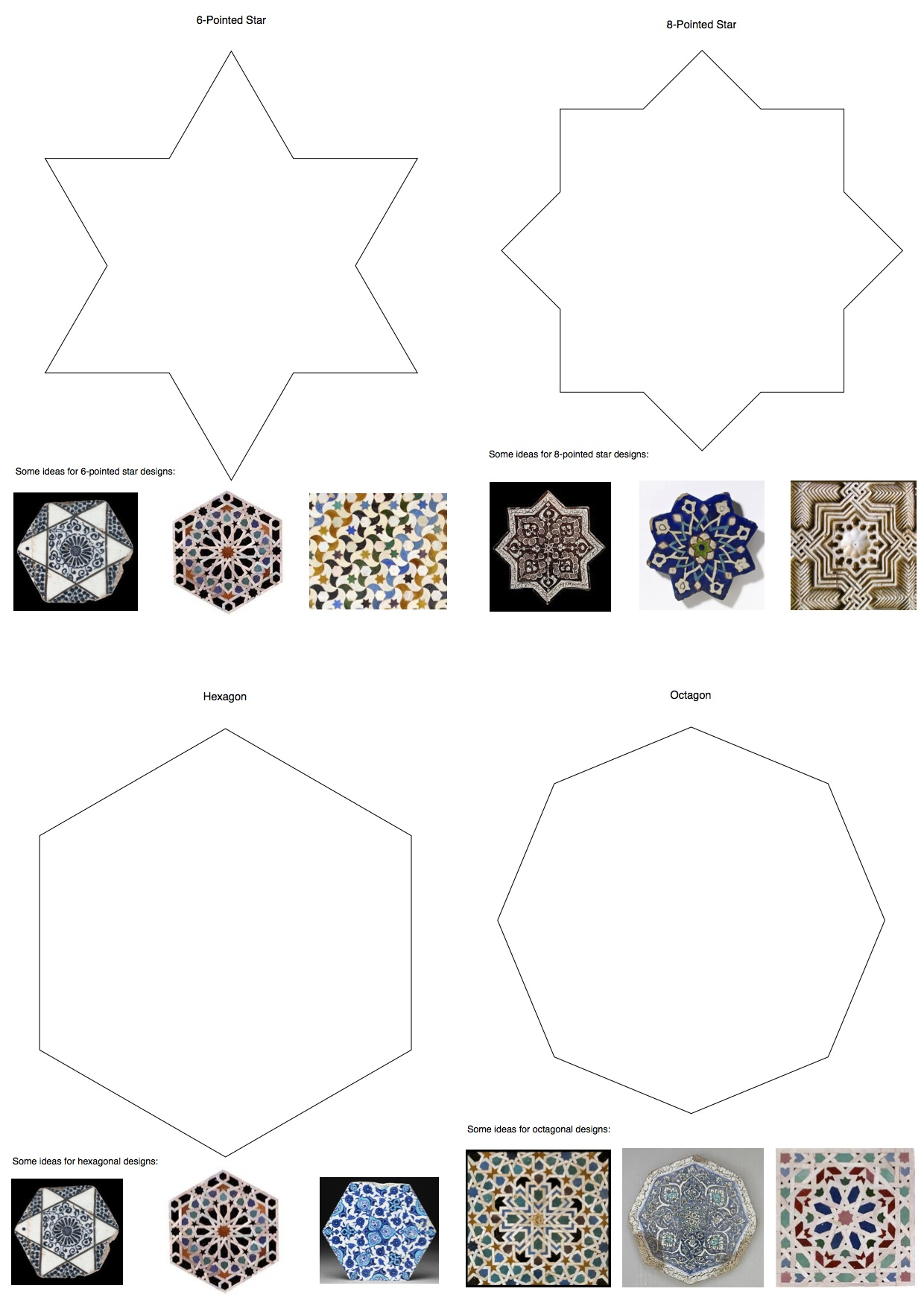 Teaching resources islamic art ayesha gamiet art for Designs for mosaics templates