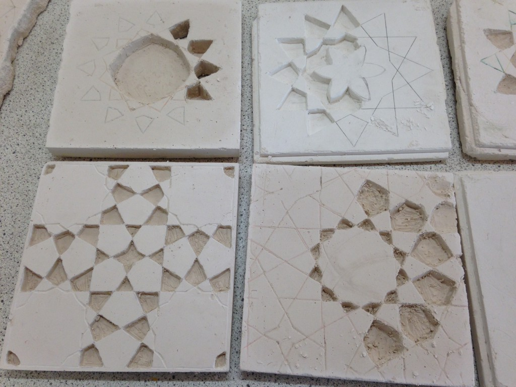 Plaster carving works in progress. University of Cambridge, Faculty of Education. Islamic art workshop with Ayesha Gamiet.